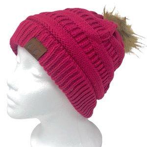 C.C Fur Pom Beanie in Hot Pink
